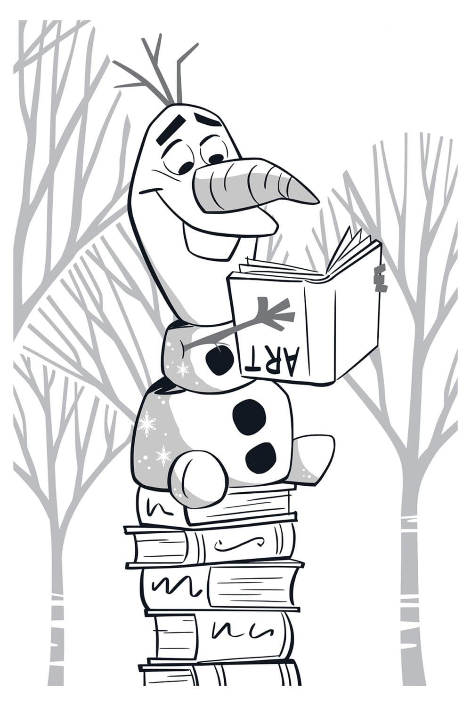 Раскраска Олаф с книгой