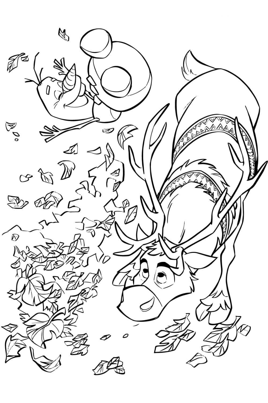 Раскраска Олаф, Свен и листья