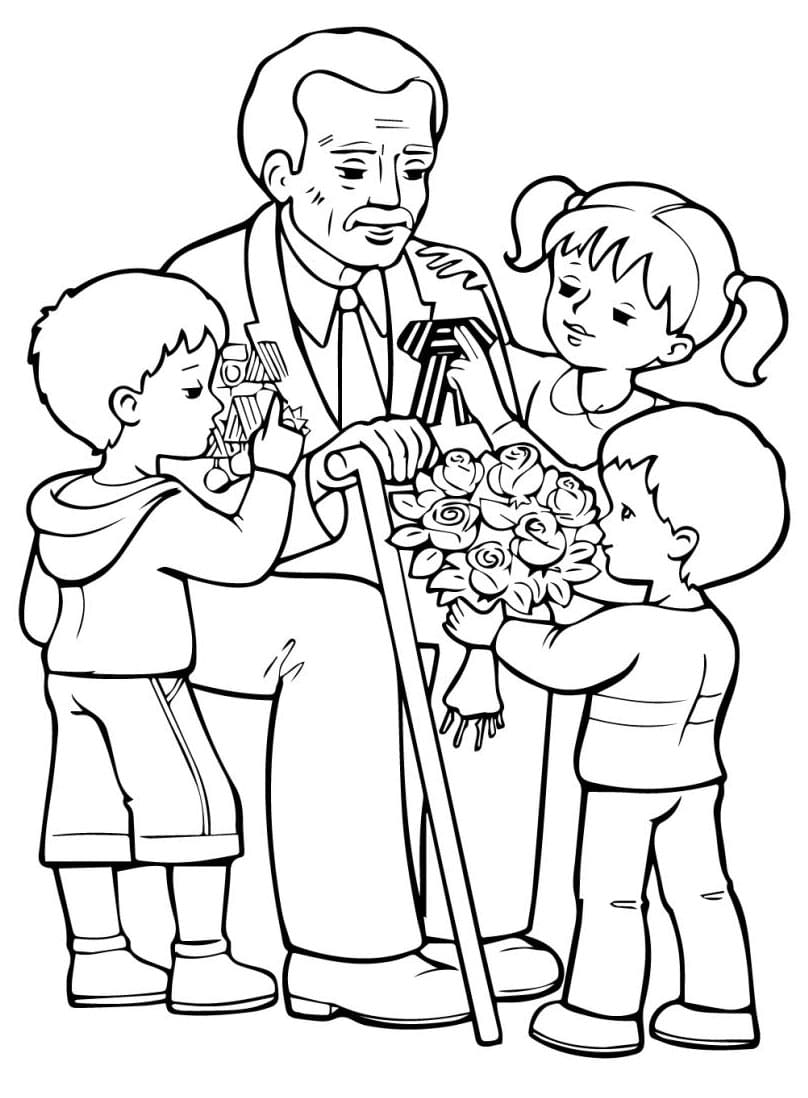 Раскраска Открытка 9 мая с ветераном