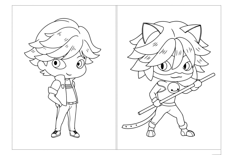 Раскраска Открытка Адриан и Супер-Кот
