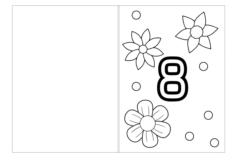 Раскраска Открытка маме на 8 марта для малышей