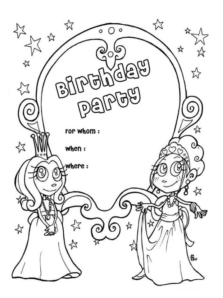 Раскраска открытка на день рождения 1