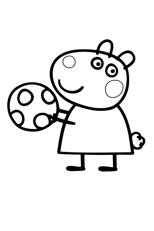 Раскраска Овечка Сьюзи с мячом