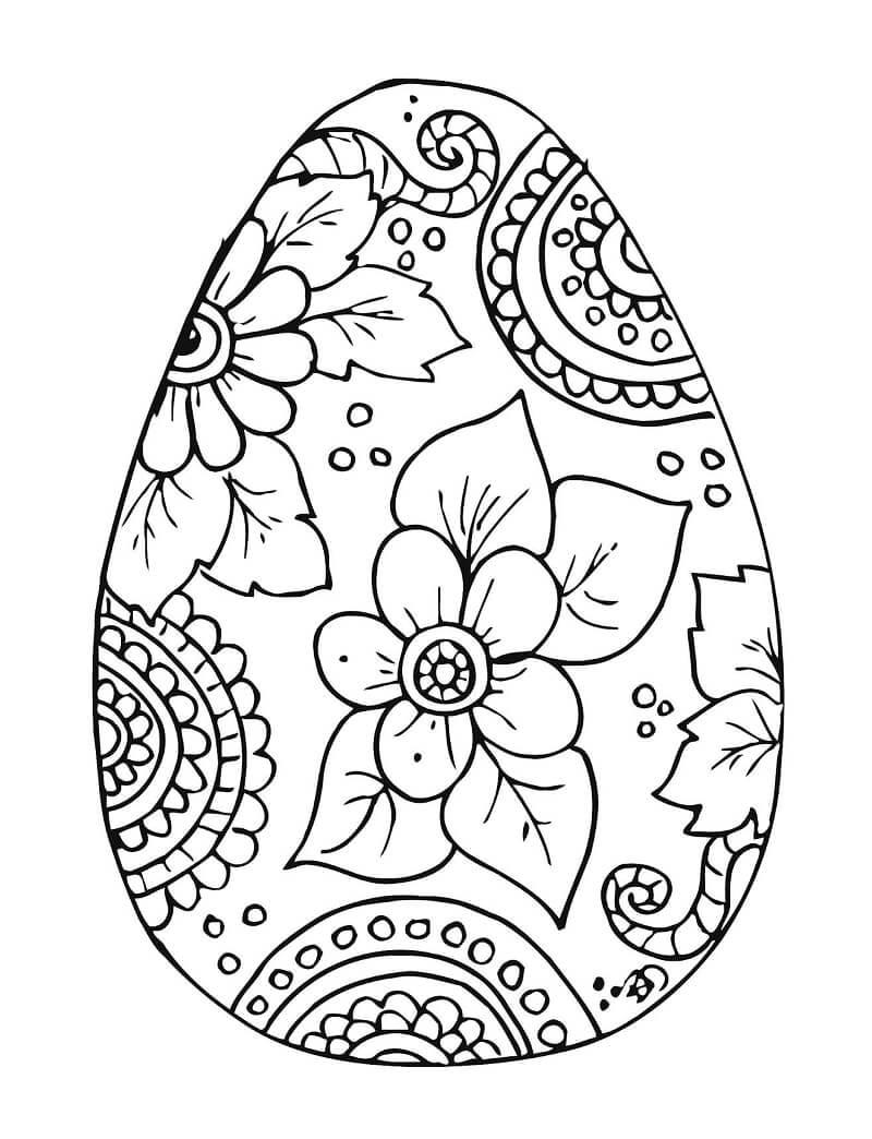 Раскраска пасхальное яйцо 1