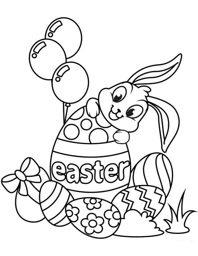 Раскраска пасхальный кролик 1