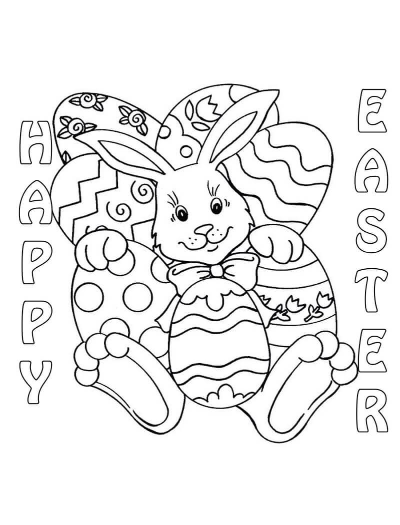 Раскраска пасхальный кролик 6