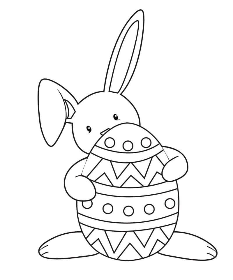 Раскраска пасхальный кролик 7