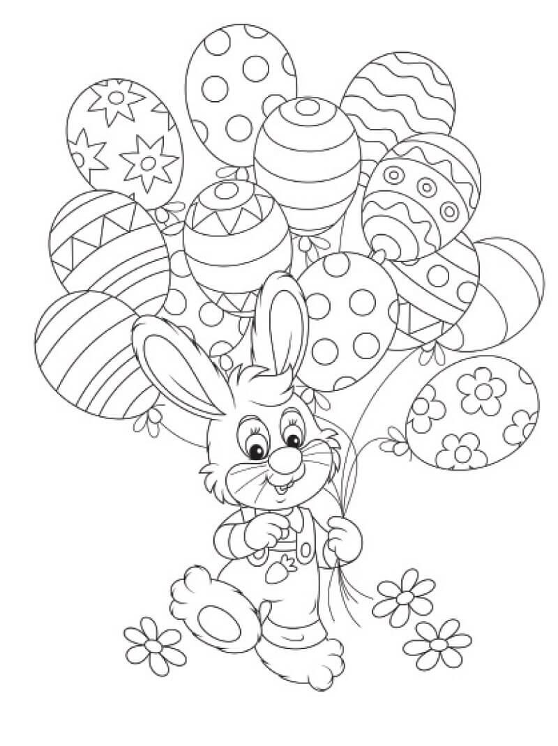 Раскраска пасхальный кролик 8