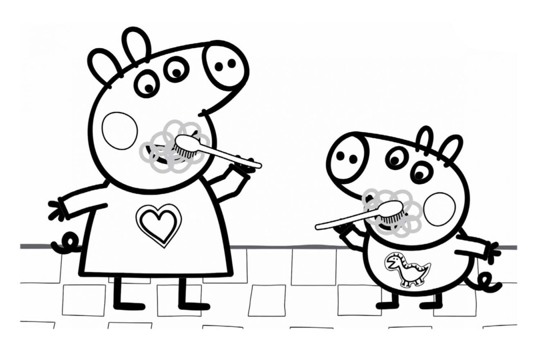 Раскраска Пеппа и Джордж чистят зубки