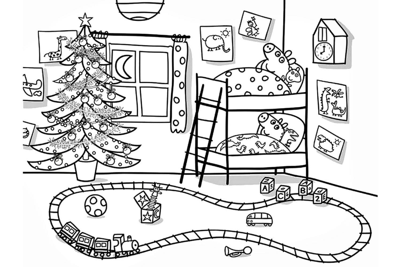 Раскраска Пеппа и Джордж на Новый год