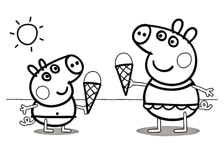 Раскраска Пеппа и Джордж с мароженым