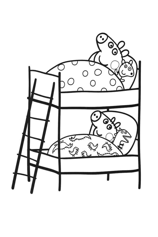 Раскраска Пеппа и Джордж в кроватках