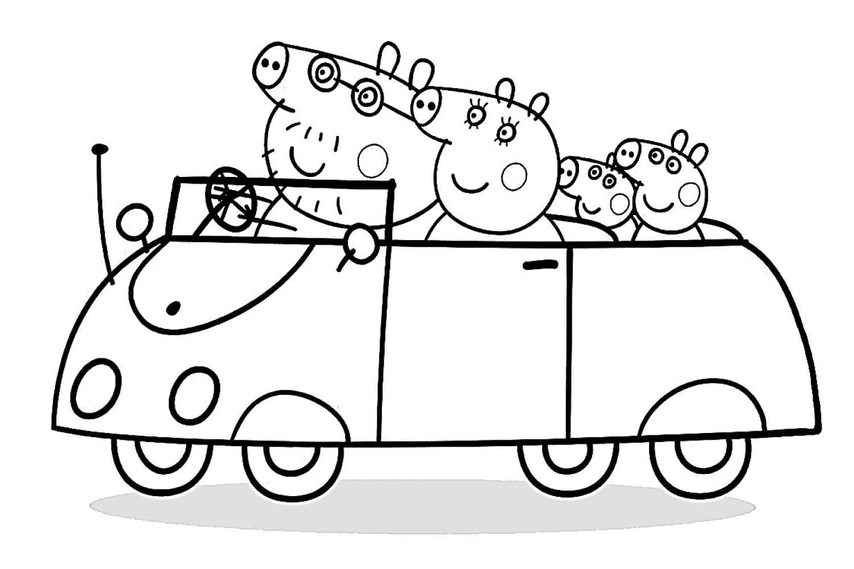 Раскраска Пеппа с семьёй на машине