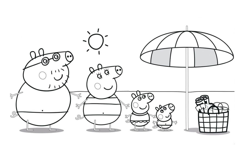 Раскраска Пеппа с семьёй на пляже