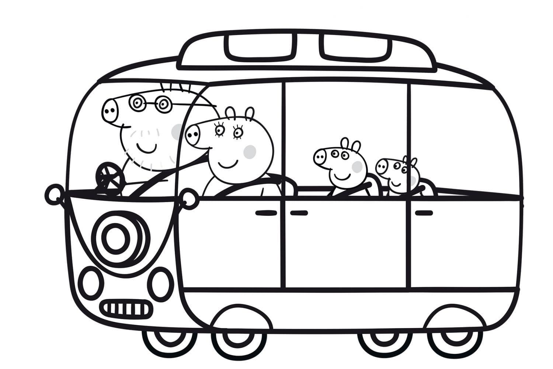 Раскраска Пеппа с семьёй
