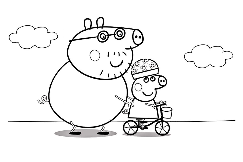 Раскраска Пеппа учится кататься на велосипеде