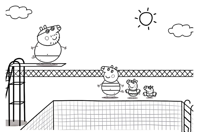 Раскраска Пеппа в бассейне