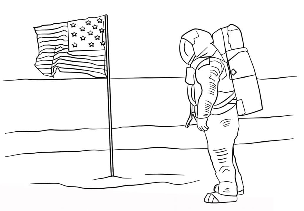 Раскраска Первый человек на Луне