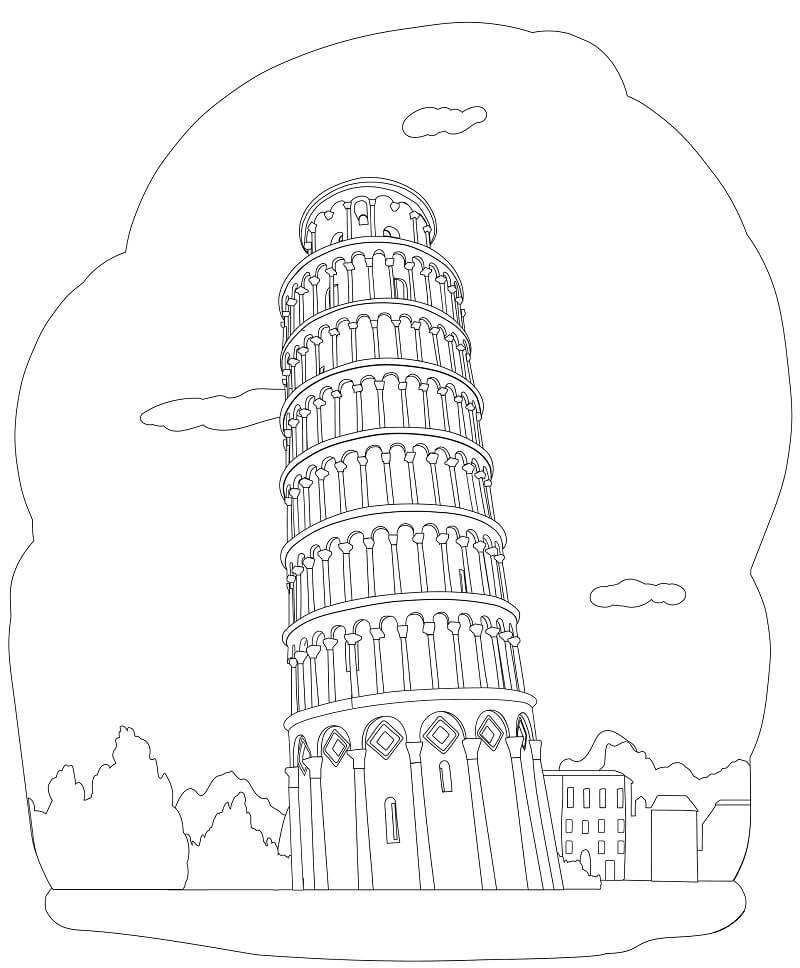 Раскраска Пизанская башня 1