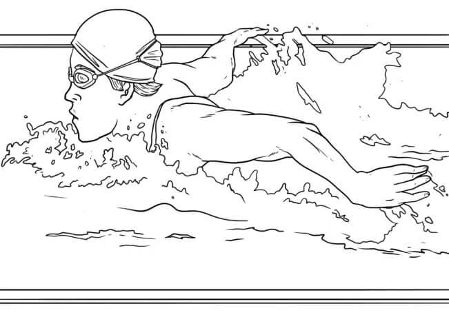 Раскраска плавание 3