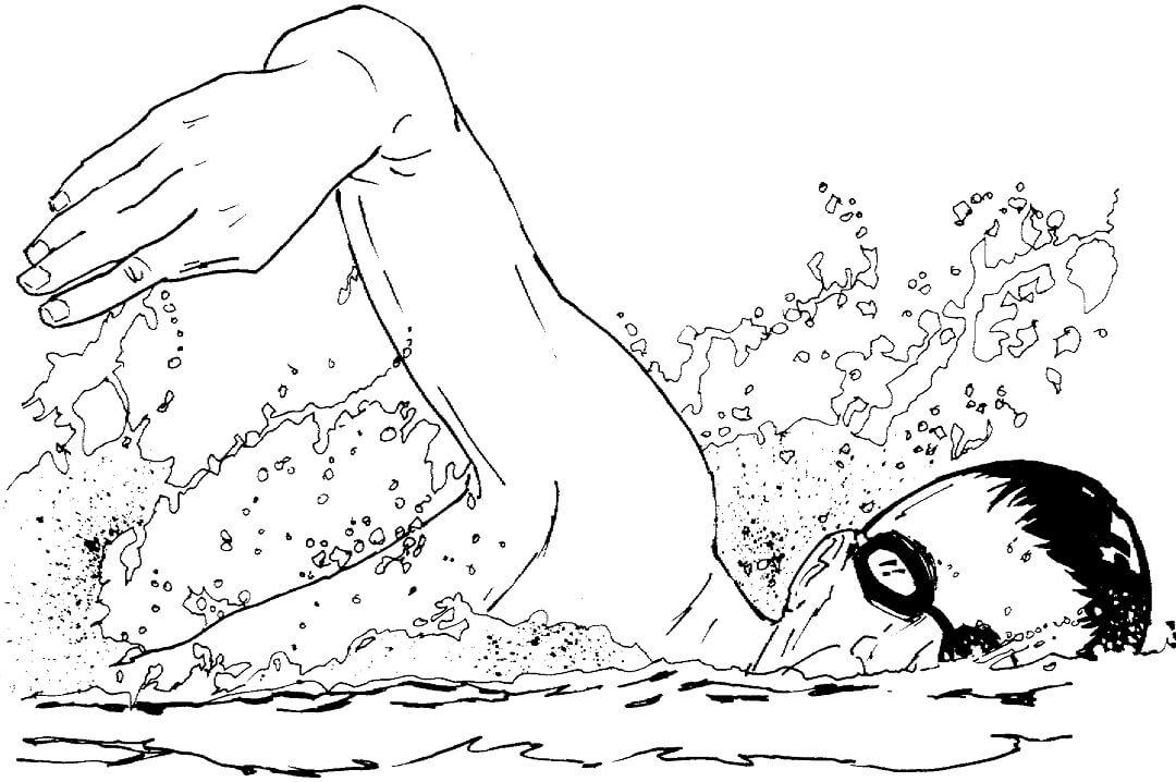 Раскраска Плавание вольным стилем 2