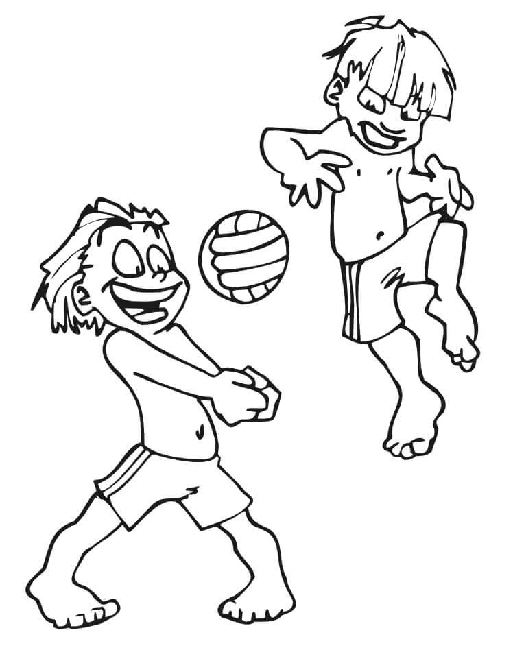 Раскраска пляжный волейбол 1