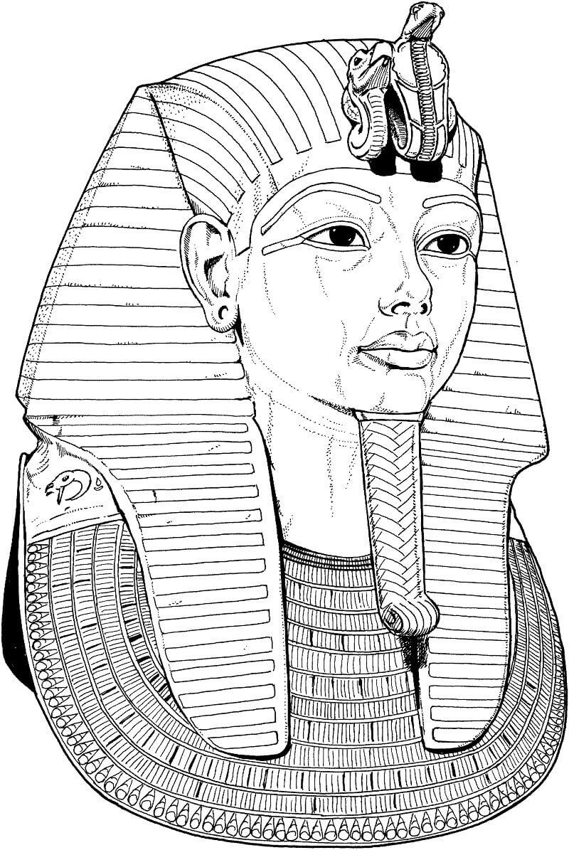 Раскраска Погребальная маска Тутанхамона