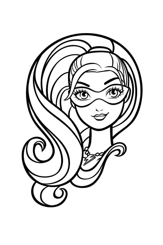 Раскраска Портрет блестящей Барби