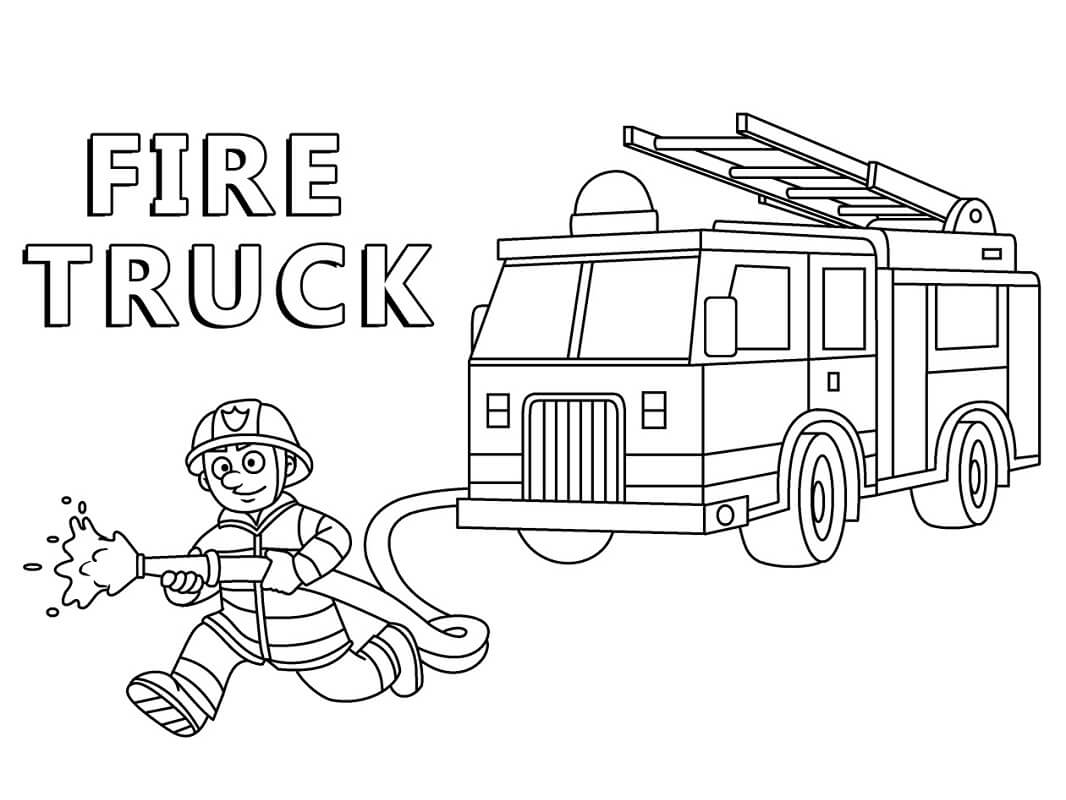 Раскраска пожарная машина 1