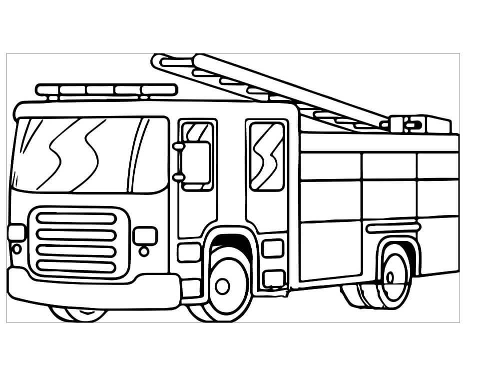 Раскраска пожарная машина 2