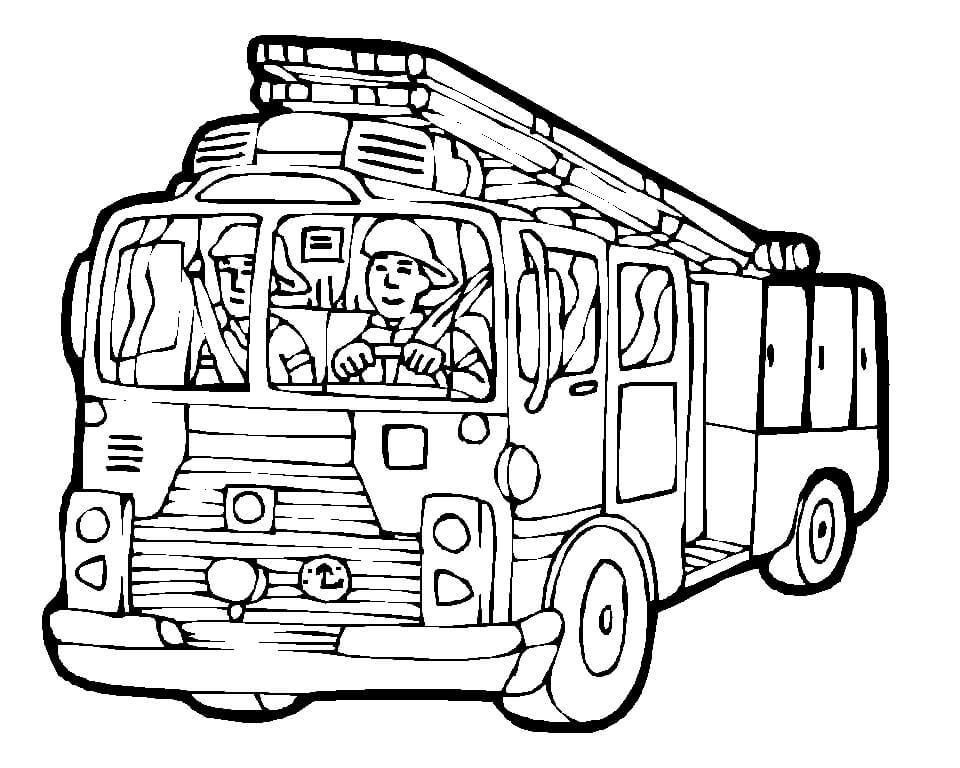 Раскраска пожарная машина 3