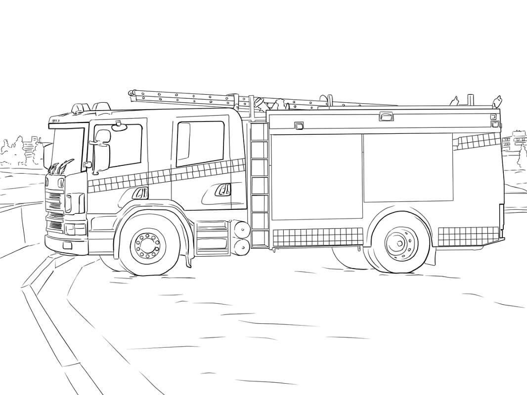 Раскраска пожарная машина 4