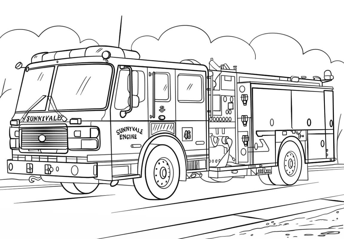 Раскраска пожарная машина 5