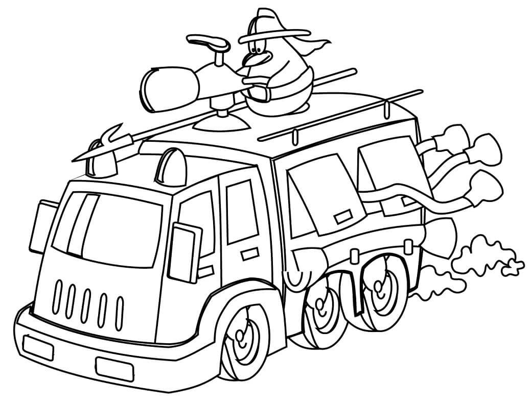 Раскраска пожарная машина 6