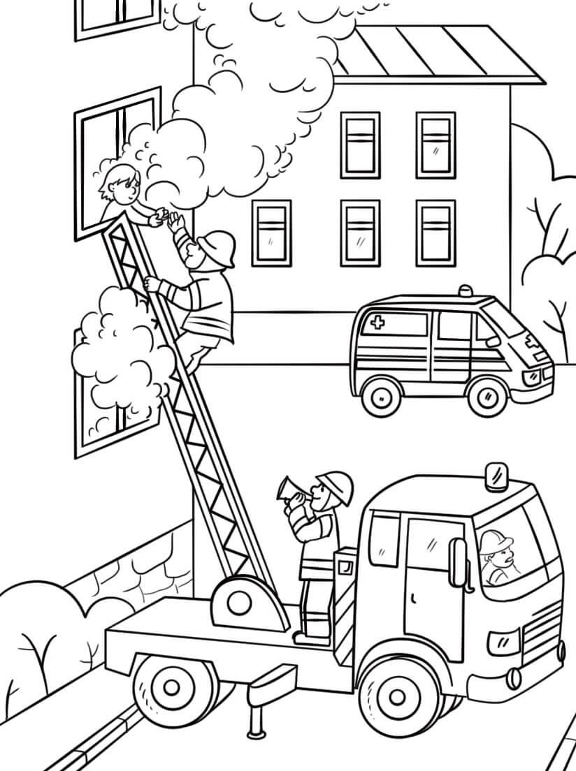 Раскраска пожарная машина 7