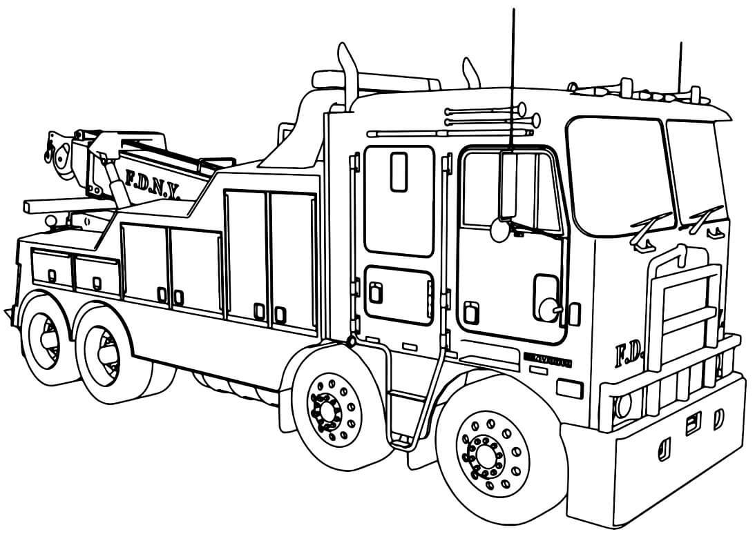 Раскраска пожарная машина 8