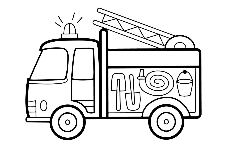 Раскраска Пожарная машина для детей