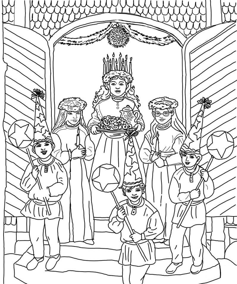 Раскраска Празднование Дня святой Люсии