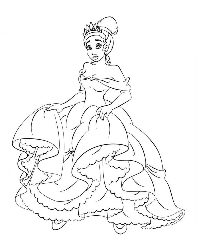 Раскраска прекрасная принцесса тиана 1
