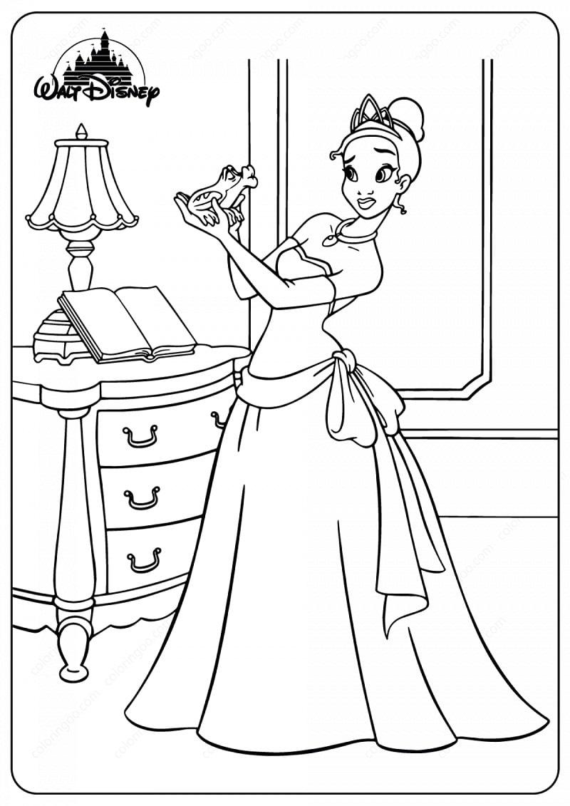 Раскраска прекрасная принцесса тиана 2