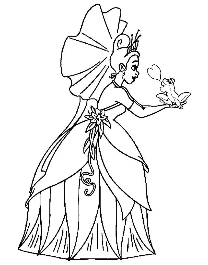 Раскраска прекрасная принцесса тиана 3