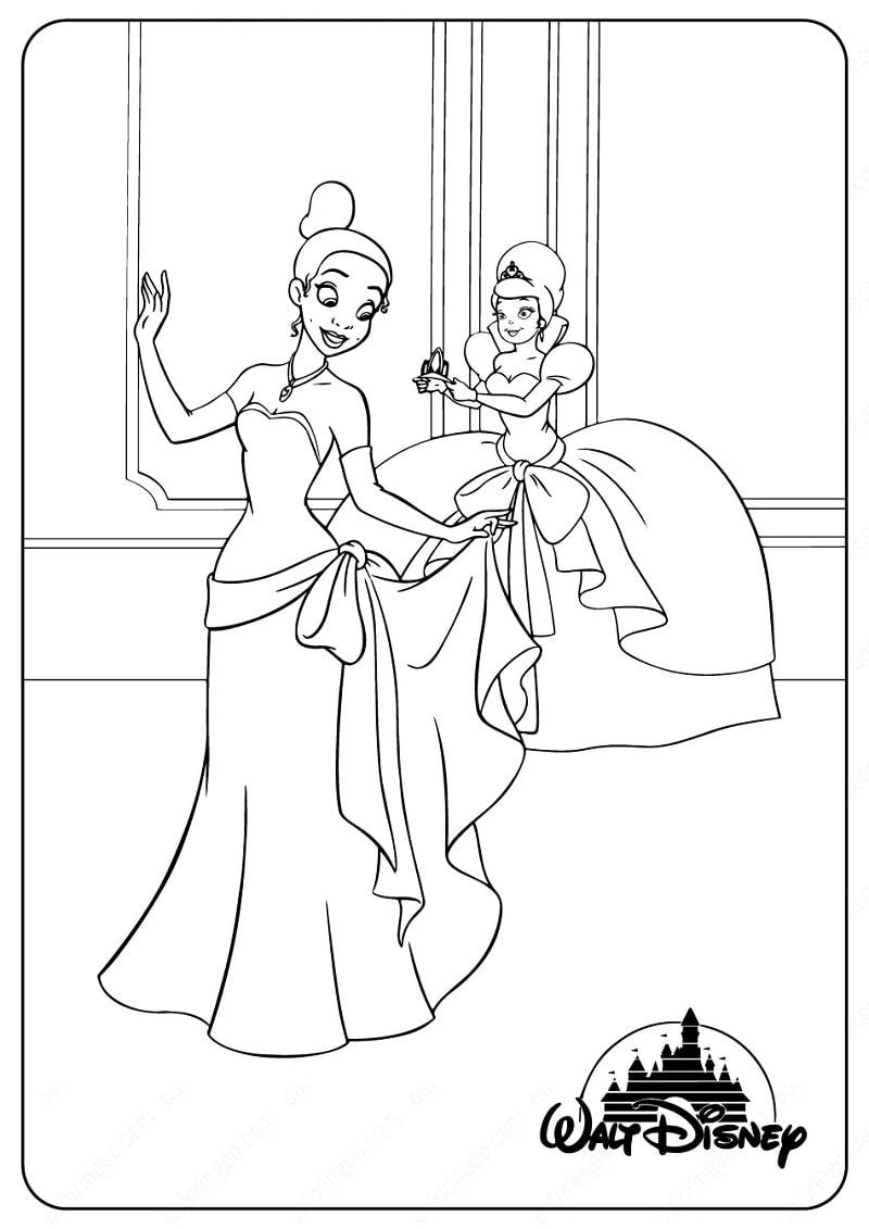 Раскраска прекрасная принцесса тиана 5