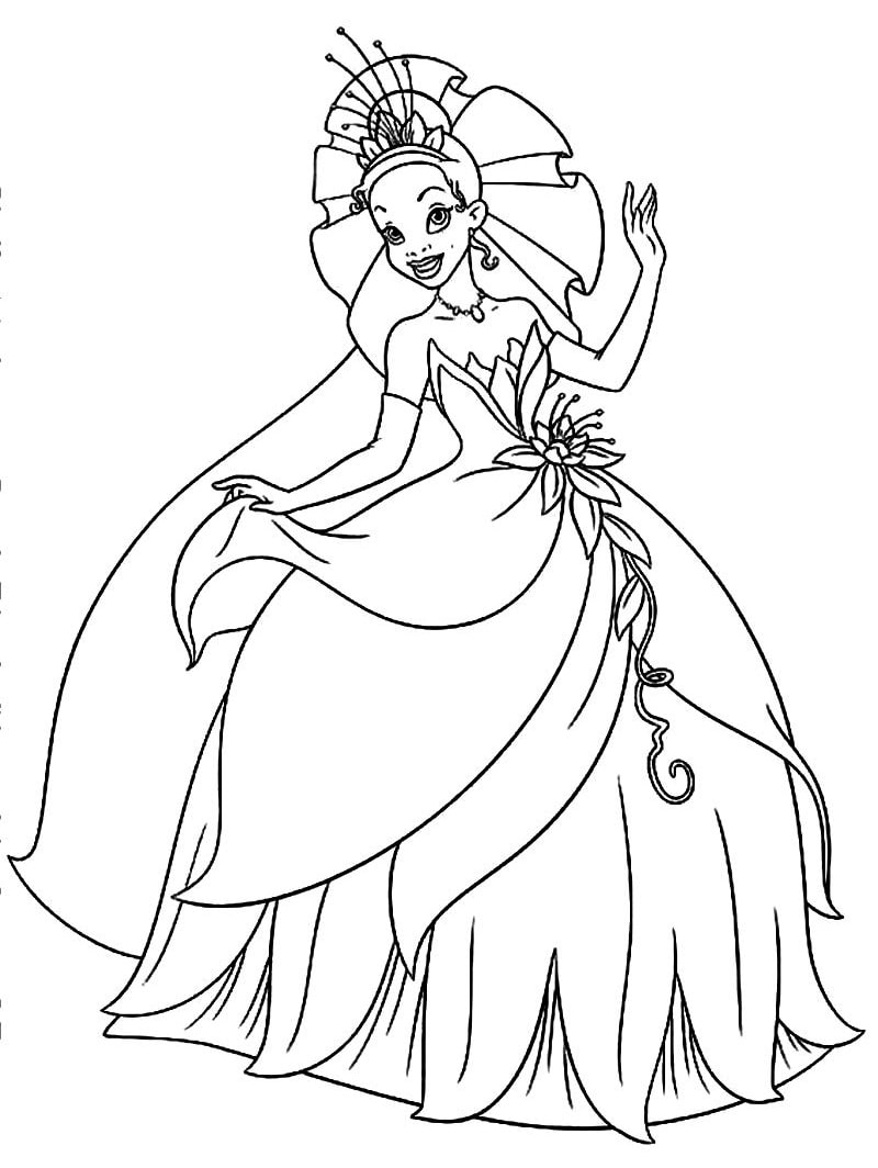 Раскраска прекрасная принцесса тиана 6