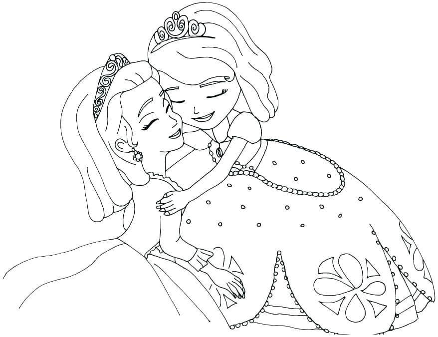 Раскраска Принцесса Эмбер и София 2