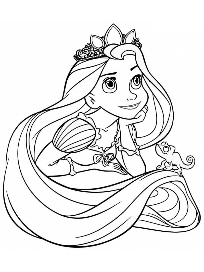 Раскраска принцесса рапунцель 1