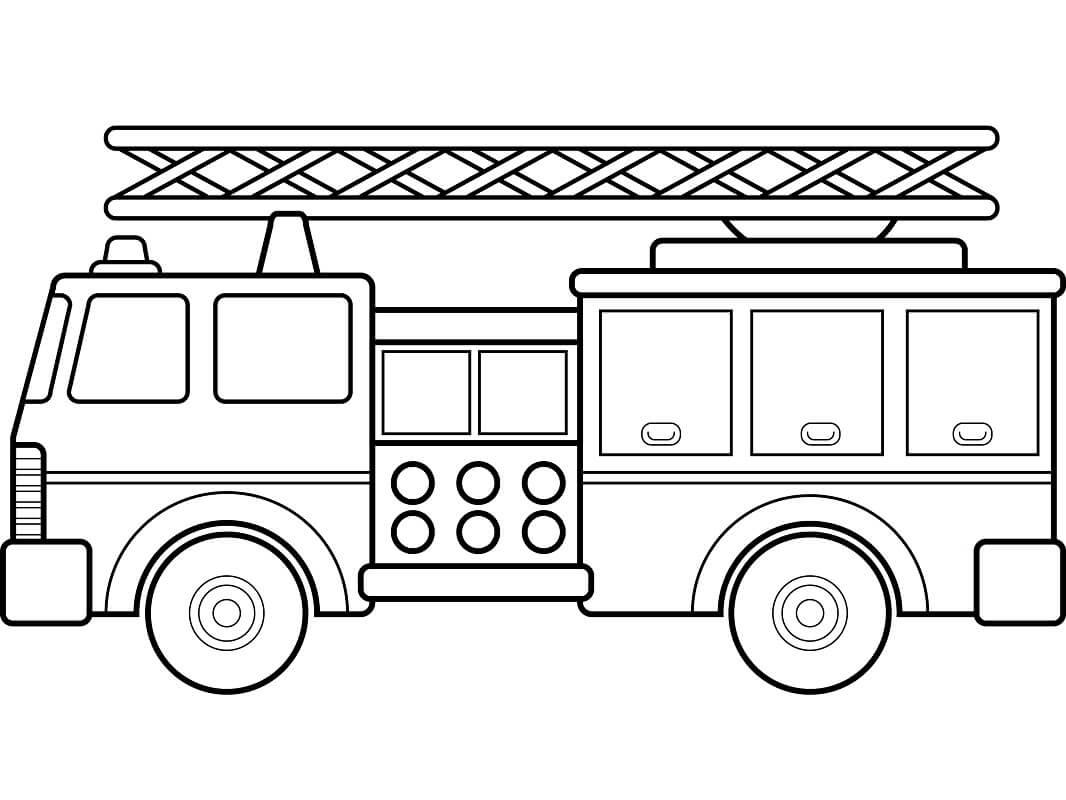 Раскраска простая пожарная машина 1