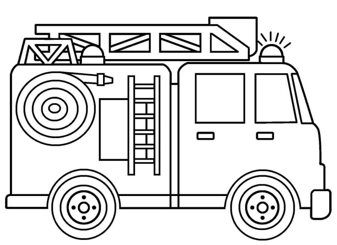 Раскраска простая пожарная машина 3