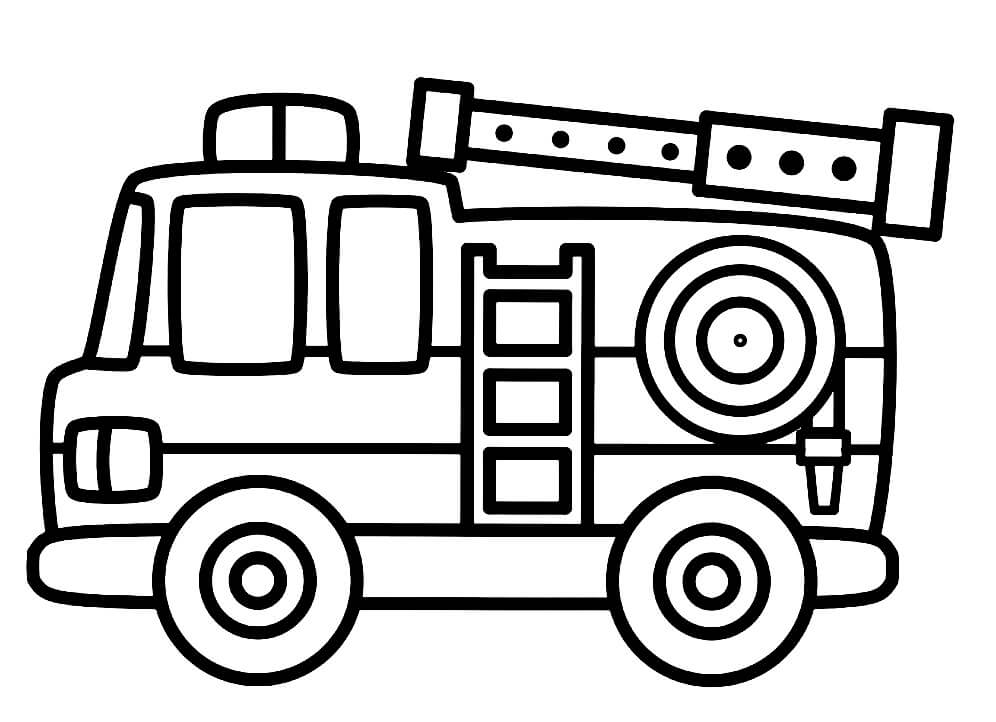 Раскраска простая пожарная машина 5