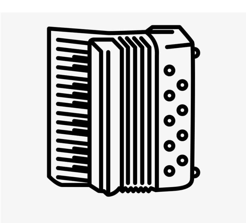 Раскраска простой аккордеон 1