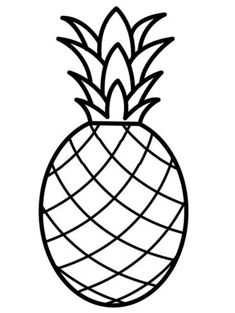 Раскраска простой ананас 1